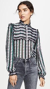 Striped Plaid Ruffle Blouse