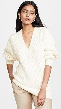Wool Blend V Neck Sweater
