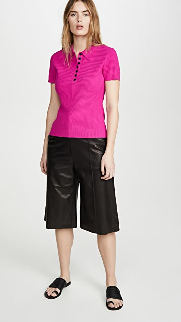 Jason Wu Short Sleeve Knitted Polo Shirt