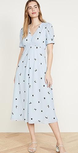 Jason Wu - Berry Gathered Sleeve V Neck Dress