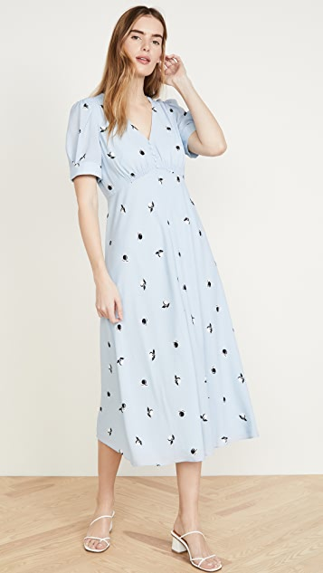 Jason Wu Berry Gathered Sleeve Vneck Dress