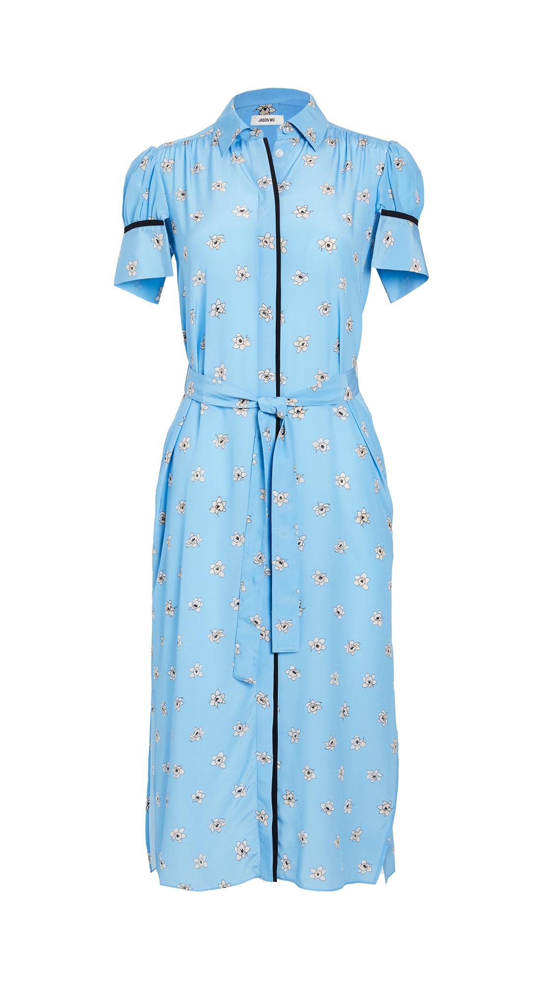 Jason Wu Short Sleeve Printed Shirt Dress
