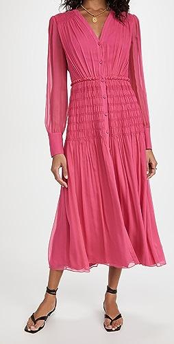 Jason Wu - Long Sleeve V Neck Chiffon Dress