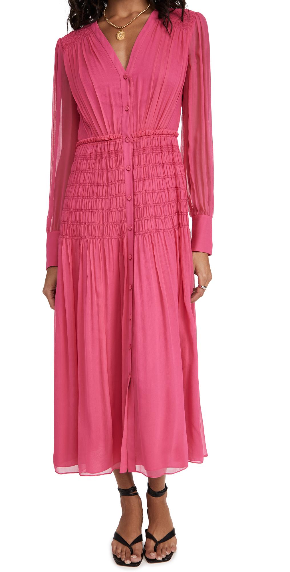 Jason Wu Long Sleeve V Neck Chiffon Dress