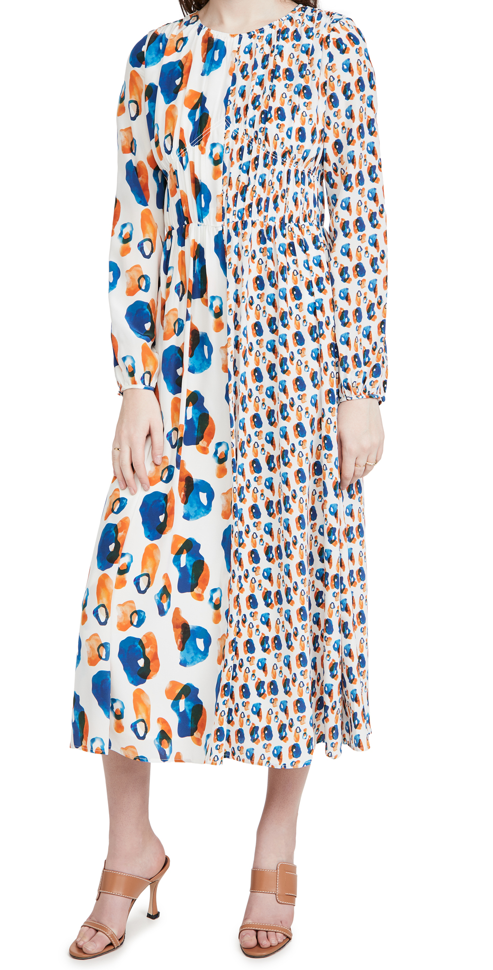 Jason Wu Silks DOUBLE PRINT COMBO LONG SLEEVE DRESS