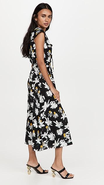 Jason Wu Sleeveless Ruffle Dress with Self Ties