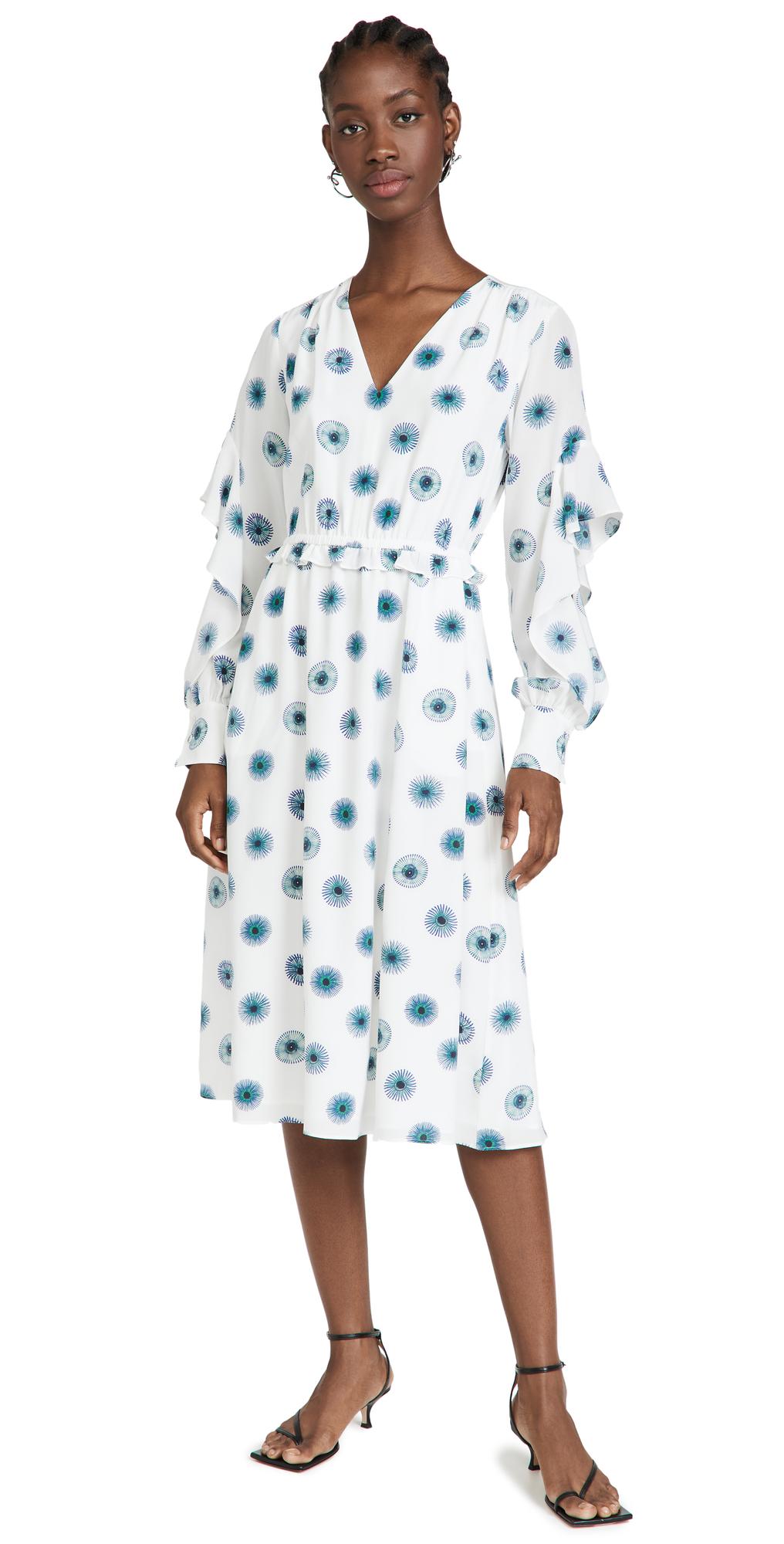 Jason Wu V Neck Dress with Flutter Sleeves