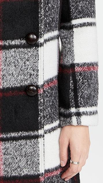 Jason Wu Double Breasted Wool Plaid Coat