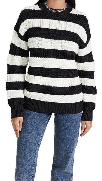 Jason Wu Merino Wool Striped Oversize Crewneck Sweater