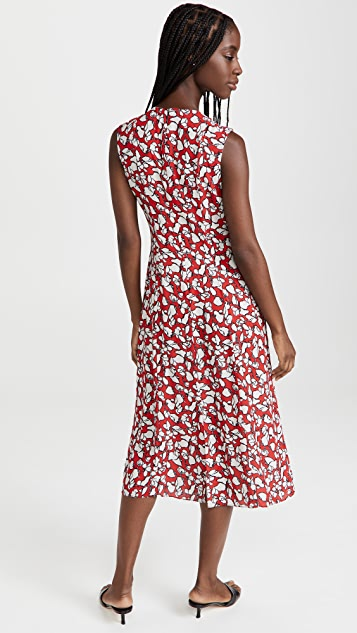 Jason Wu Abstract Floral Print Sleeveless Crew Neck Dress