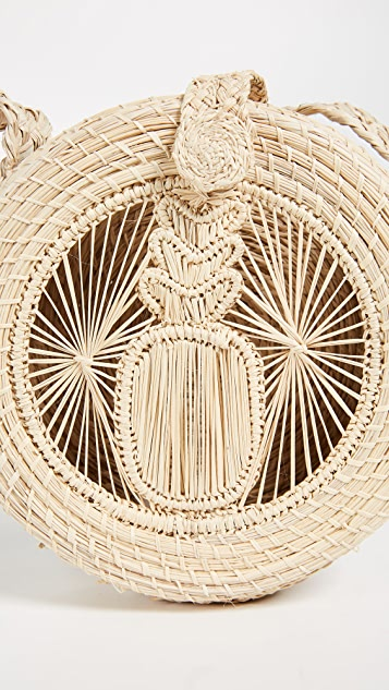 KAANAS Akumal Woven Circle Crossbody Bag