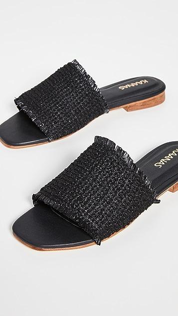 KAANAS Crete 磨边鞋面一脚蹬凉鞋