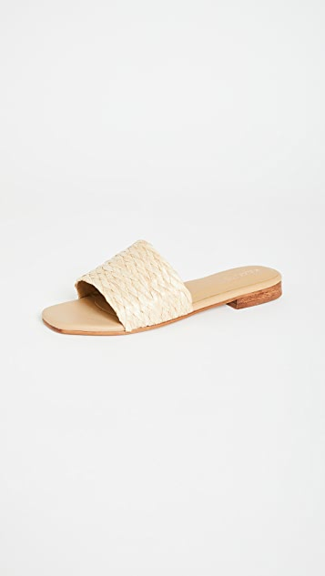 KAANAS Key Largo Braided Raffia Slip On Sandals