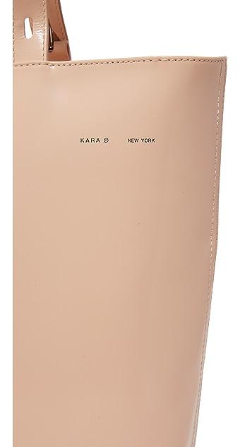 KARA Polished Panel Small Zip Top Tote