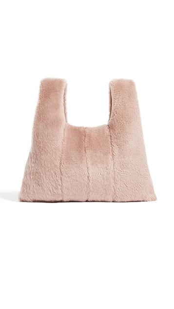 KARA Shearling Mini Shopper Bag