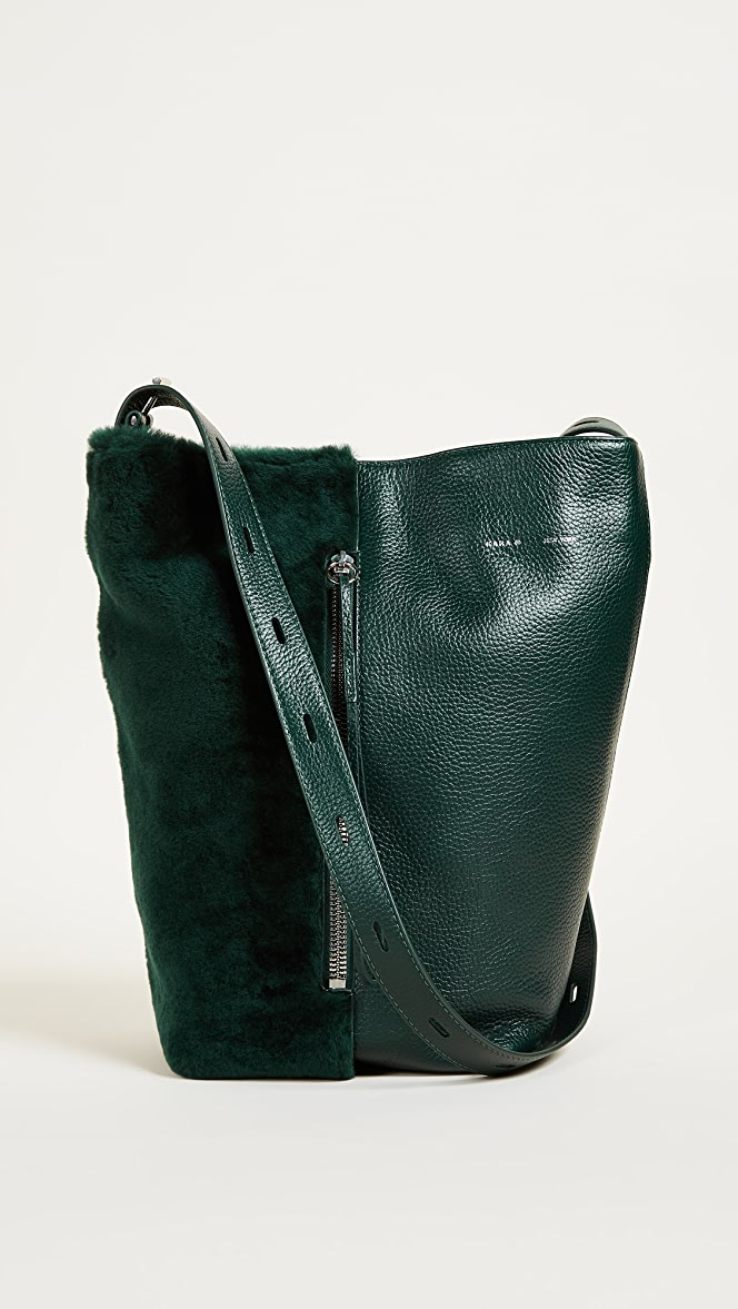 KARA Shearling Panel Bucket Bag | SHOPBOP