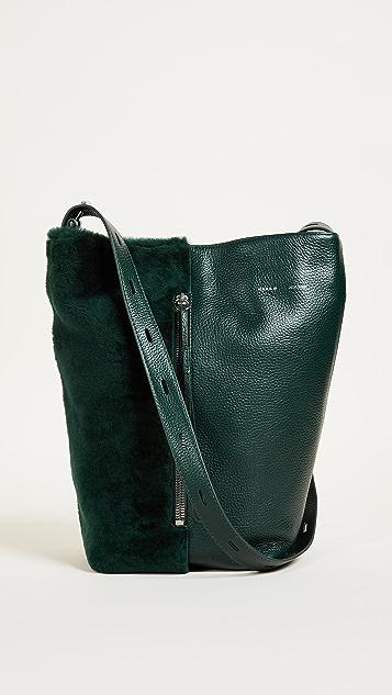 KARA Shearling Panel Bucket Bag