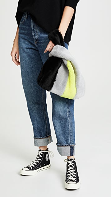 KARA Shearling Mini Shopper Tote
