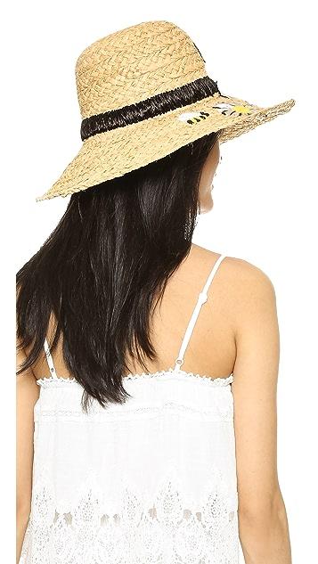 Kate Spade New York Пляжная шляпа с вышитыми маргаритками