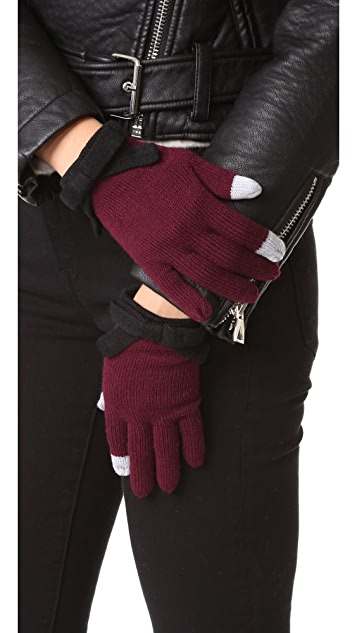 Kate Spade New York Contrast Bow Texting Gloves