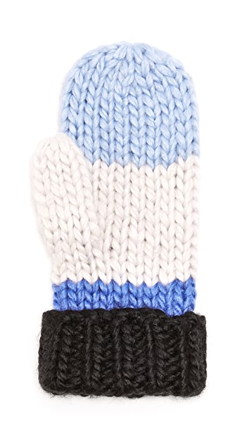 Kate Spade New York Chunky Knit Colorblock Mittens