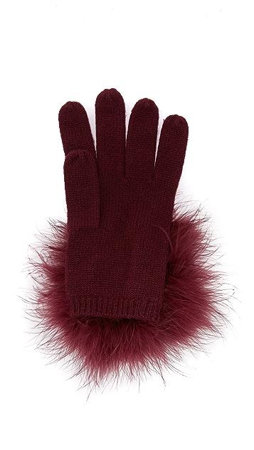 Kate Spade New York Marabou Pom Pom Gloves