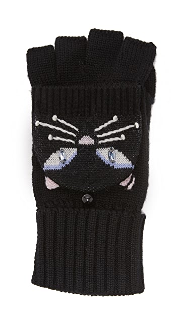 Kate Spade New York Cat Pop Top Mittens