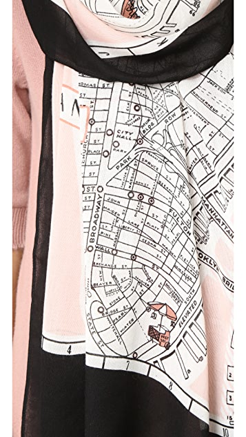 Kate Spade New York New York Map Oblong Scarf