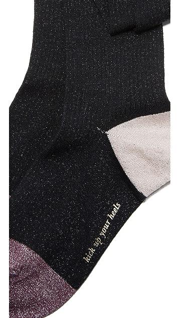 Kate Spade New York Lurex Rib Pop Over The Knee Socks