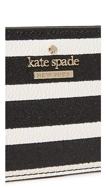Kate Spade New York Glitter Stripe Card Holder