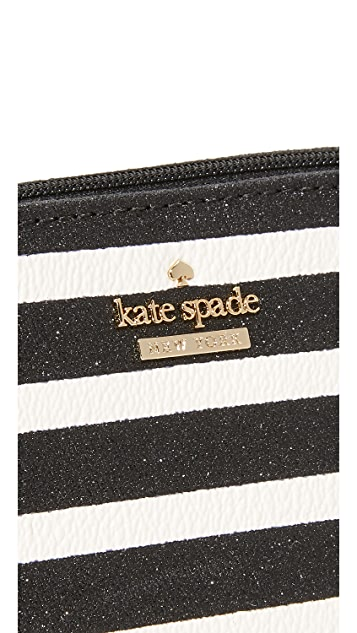 Kate Spade New York Glitter Stripe Small Annabella Cosmetic Case