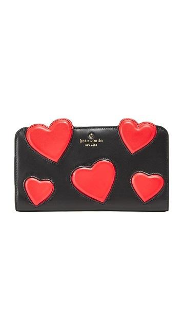 Kate Spade New York Be Mine Heart Applique Adelina Wallet