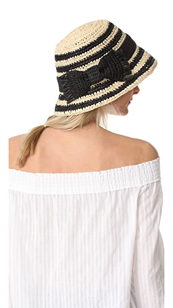 Kate Spade New York Crochet Crushable Striped Cloche