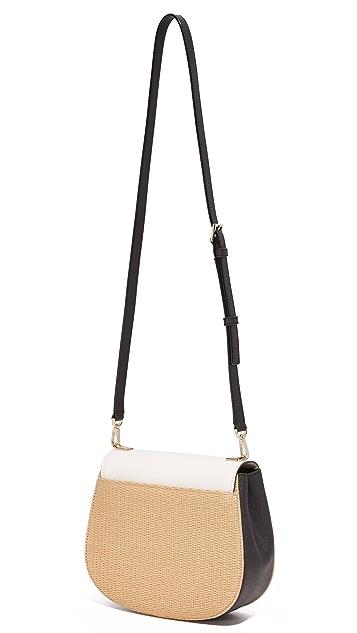 Kate Spade New York Straw Byrdie Saddle Bag