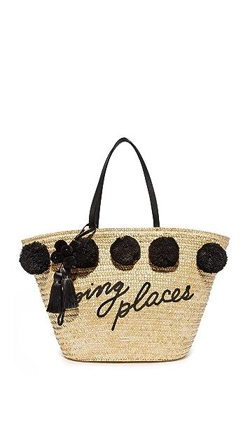Kate Spade New York Объемная сумка для покупок с короткими ручками и большим помпоном