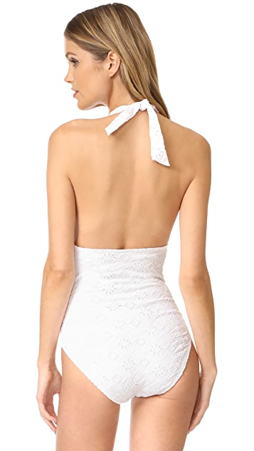 Kate Spade New York Embroidered Halter Plunge Swimsuit