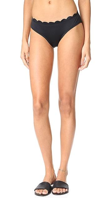 Kate Spade New York Scalloped Hipster Bikini Bottoms - Black