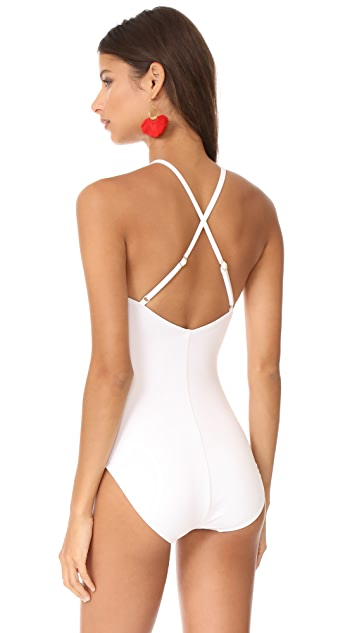 Kate Spade New York Scalloped High Neck One Piece