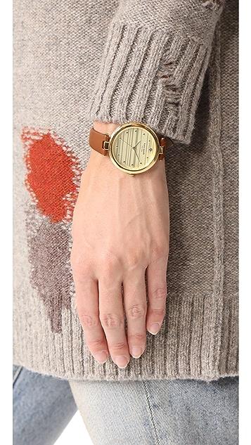 Kate Spade New York Varick Stripe Leather Watch, 36mm