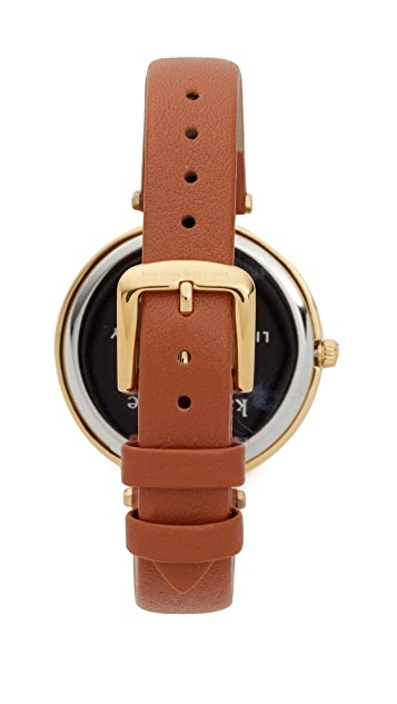 Kate Spade New York Varick Stripe Leather Watch, 36mm