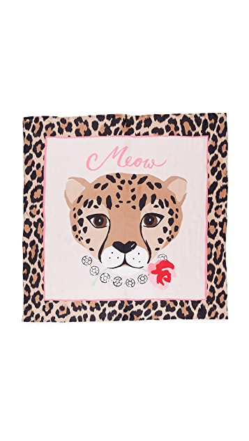 Kate Spade New York Cheetah Face Silk Square