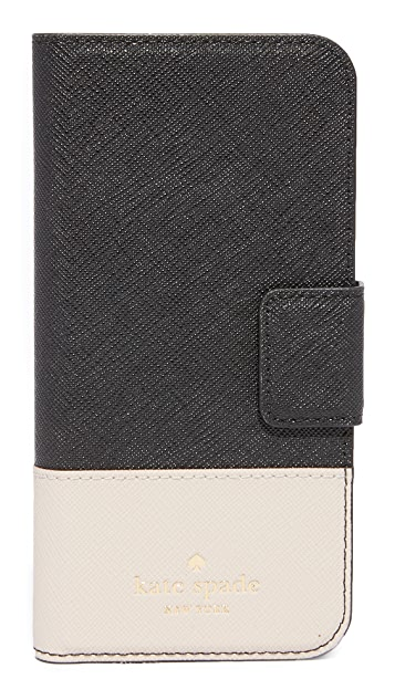 Kate Spade New York Leather Wrap Folio iPhone 7 Case / 8 Case - Black/Tusk