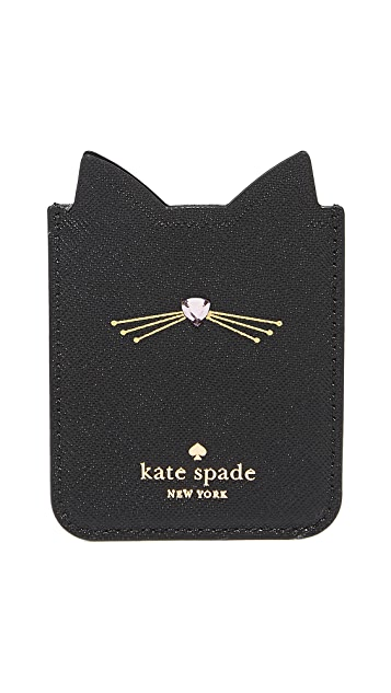 Kate Spade New York Embellished Cat Adhesive Phone Pocket