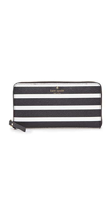 Kate Spade New York Hyde Lane Stripe Michele Zip Around Wallet