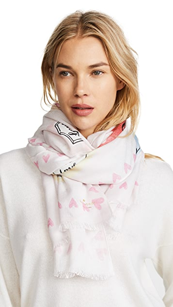 Kate Spade New York Paintbrush Heart Oblong Scarf