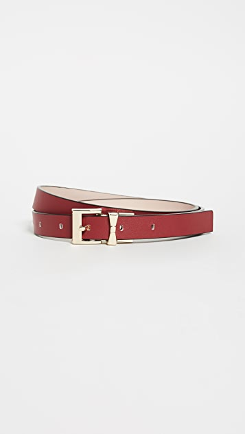 Kate Spade New York Smooth Leather Reversible Belt - Au Natural/Cinnabar