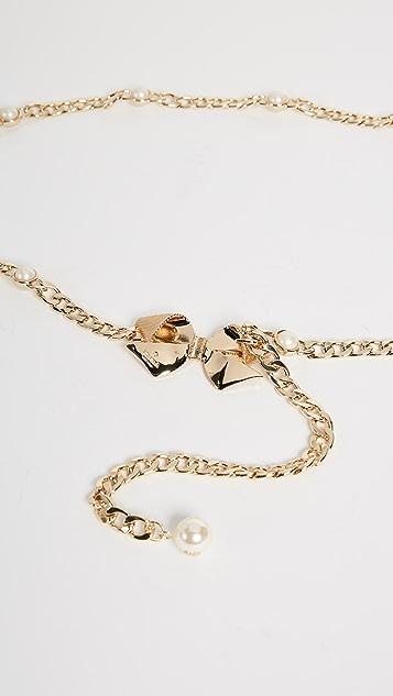 Kate Spade New York Bow & Imitation Pearl Chain Belt