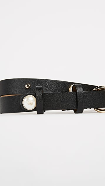 Kate Spade New York Smooth Leather Belt with Imitation Pearl Studs