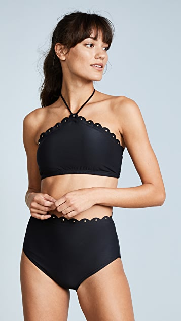 Kate Spade New York Morro Bay Scalloped High Neck Bikini Top