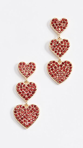 Kate Spade New York Pave Heart Triple Drop Earrings